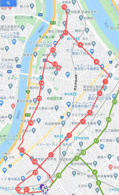 墨田区内循環バスの北西部ルート